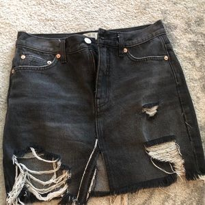 Free People Black ripper jean skirt